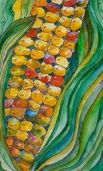 Colorful Corn Kernals Painting by Joan Utley