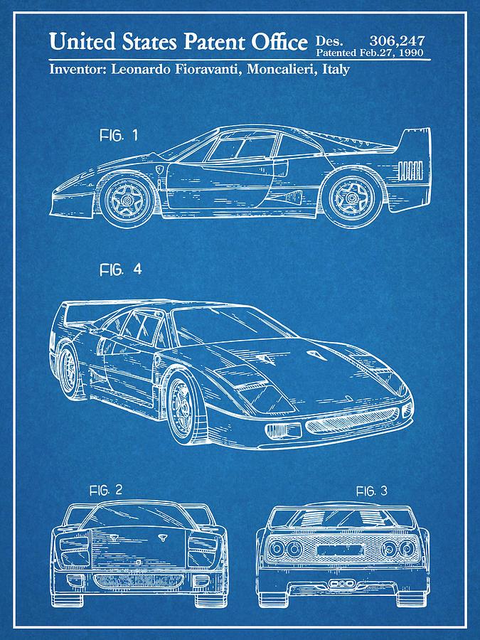 Ferrari Blueprint : ferrari, blueprint, Ferrari, Patent, Print, Blueprint, Drawing, Edwards