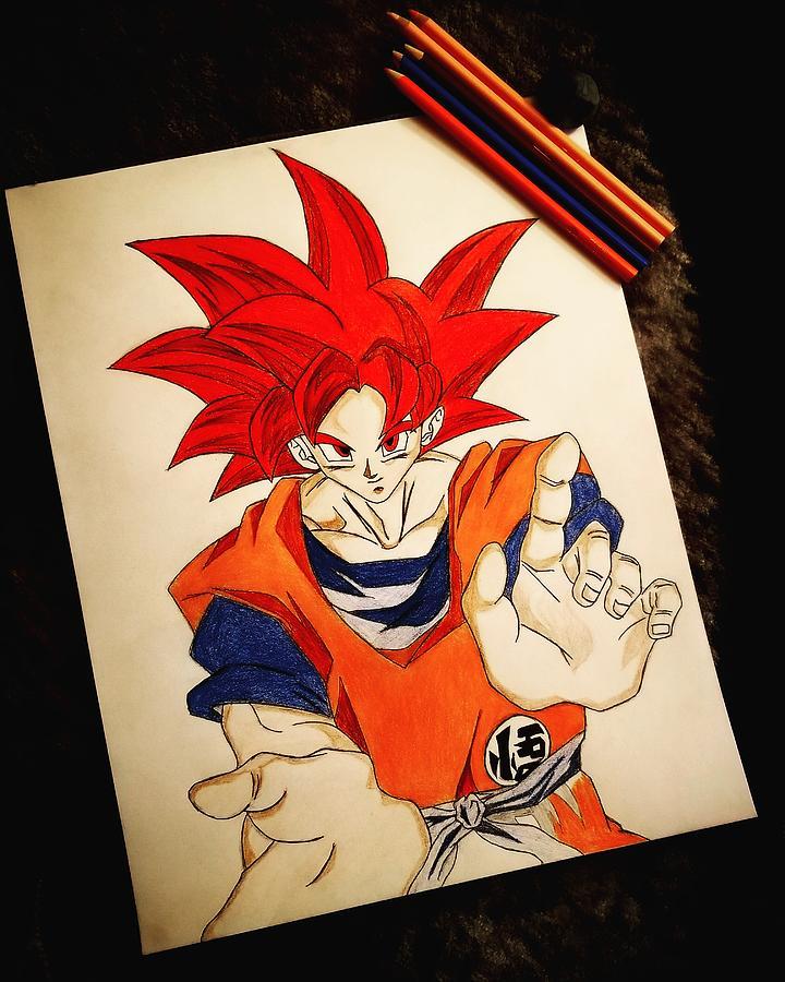 Goku Super Saiyan God Drawing : super, saiyan, drawing, Super, Saiyan, Drawing, Michael, Leggs