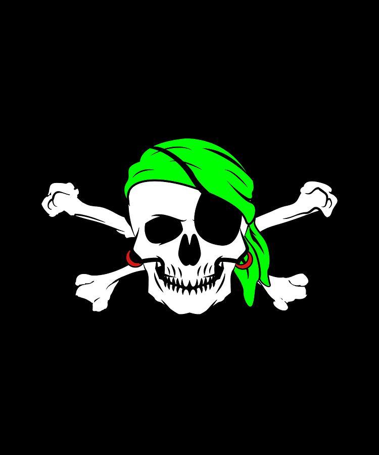 Halloween Pirate Skull Crossbones Bandana Eyepatch Drawing By Jk