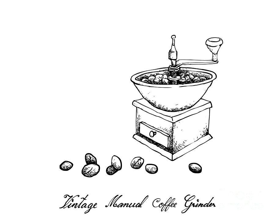 Hand Drawn of Vintage Manual Coffee Grinder Drawing by Iam Nee