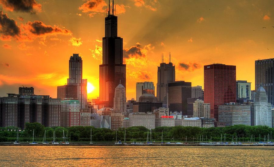 hdr chicago skyline sunset