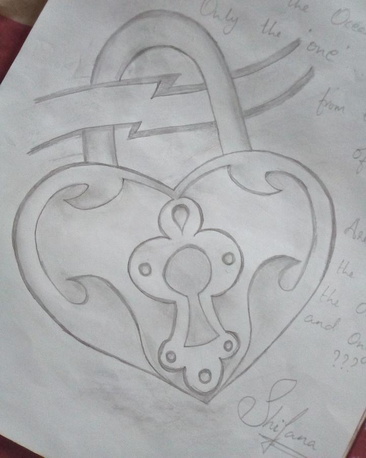 Heart Lock Drawing : heart, drawing, Heartlock, Drawing, Shifana, Shams