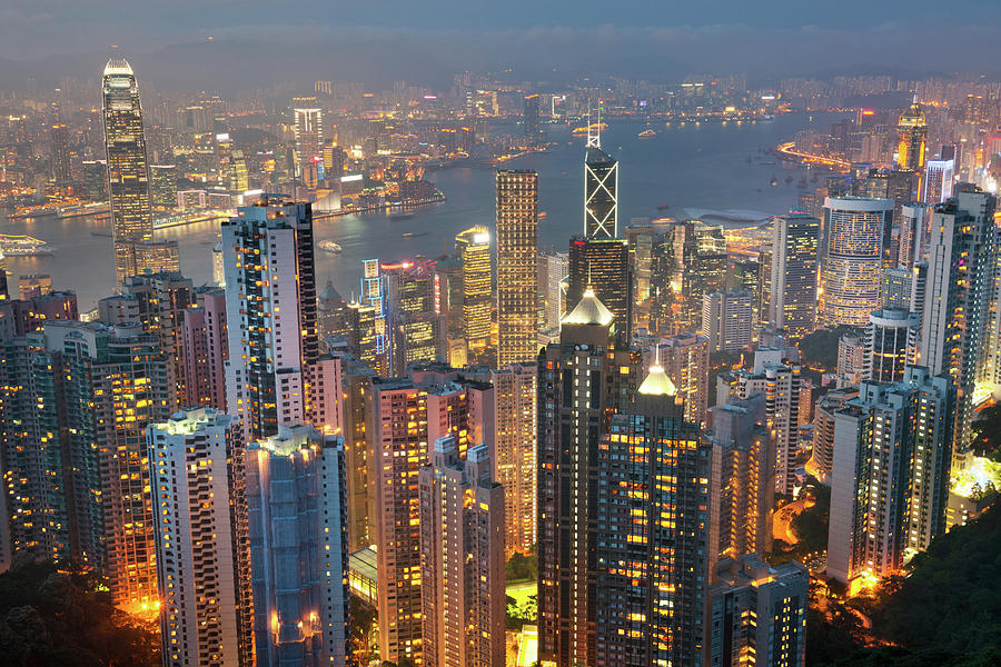 Hong Kong Skyline With Kowloon At Night Photograph by 4fr