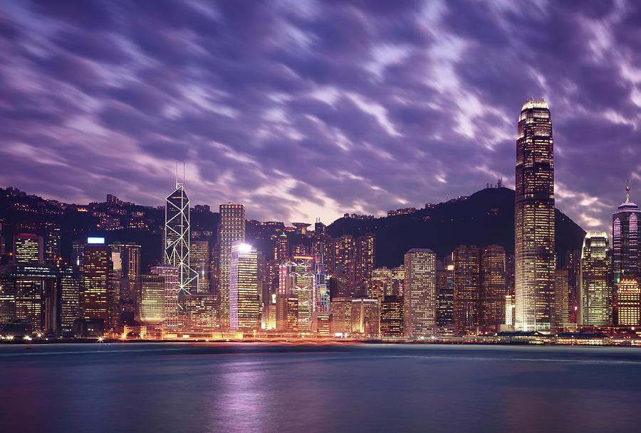 Hong Kong Victoria Harbor At Night by Yesfoto