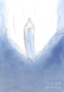 I Saw Christ Standing On The Brink Of Heaven, His Arms Outstretched In  Prayer Painting by Elizabeth Wang