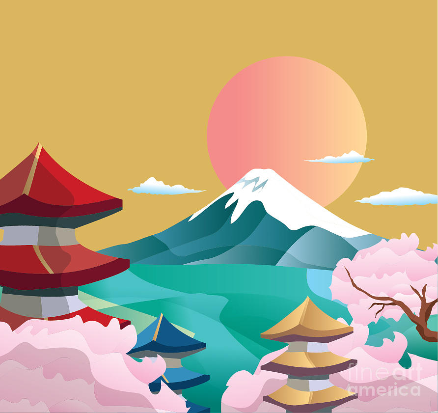 fuji is the tallest mountain in japan, so it seems appropriate to start this list with the second tallest. Japan Style Buildings And Fuji Mountain Digital Art By Takiwa