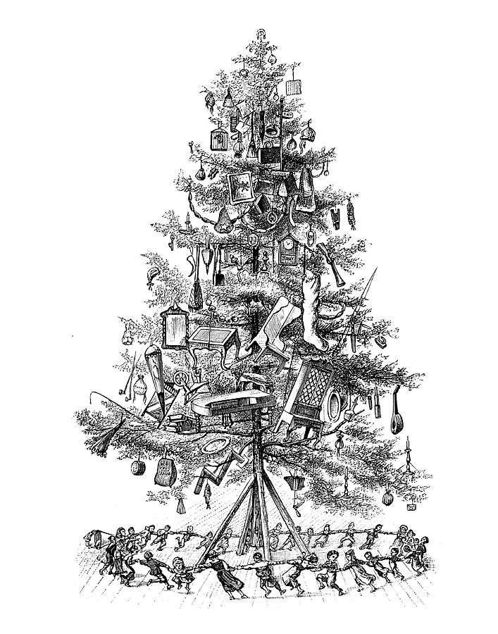 Kids Dancing Around Christmas Tree Vintage Art Black And White Line Art Old Art Drawing By Mick Flodin