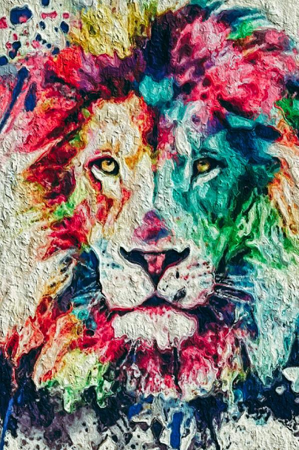 lion heart abstract painting