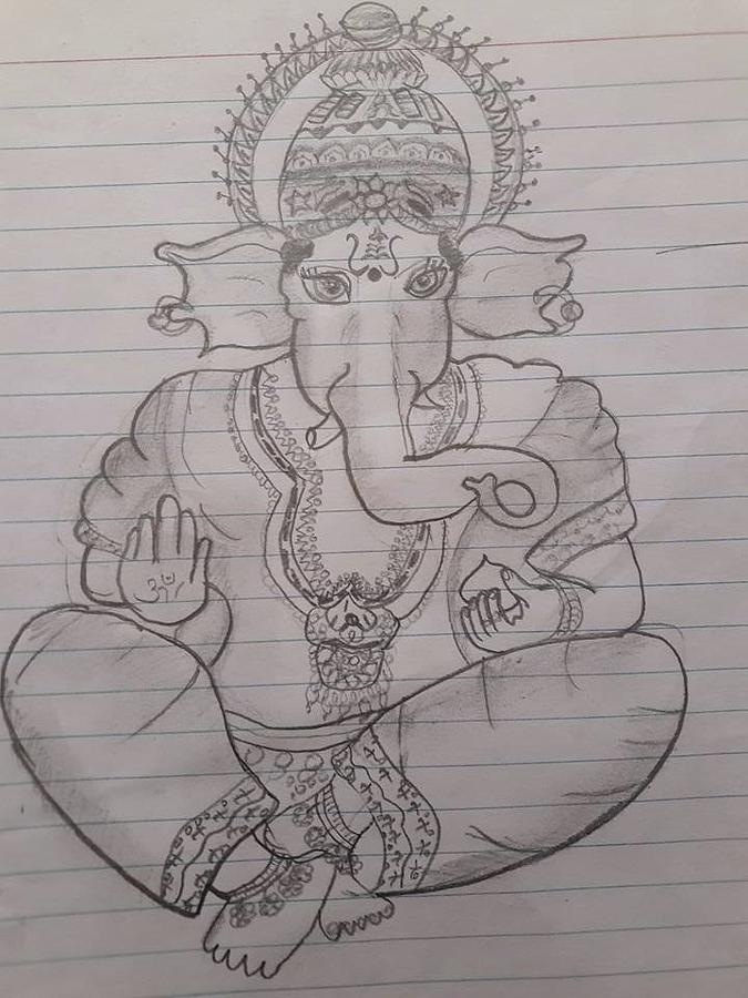 Lord Ganesha Drawing By Aditya Chandrasekhar