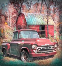 1957 photograph love that red 1957 chevy truck soft painting by debra and dave vanderlaan [ 900 x 900 Pixel ]