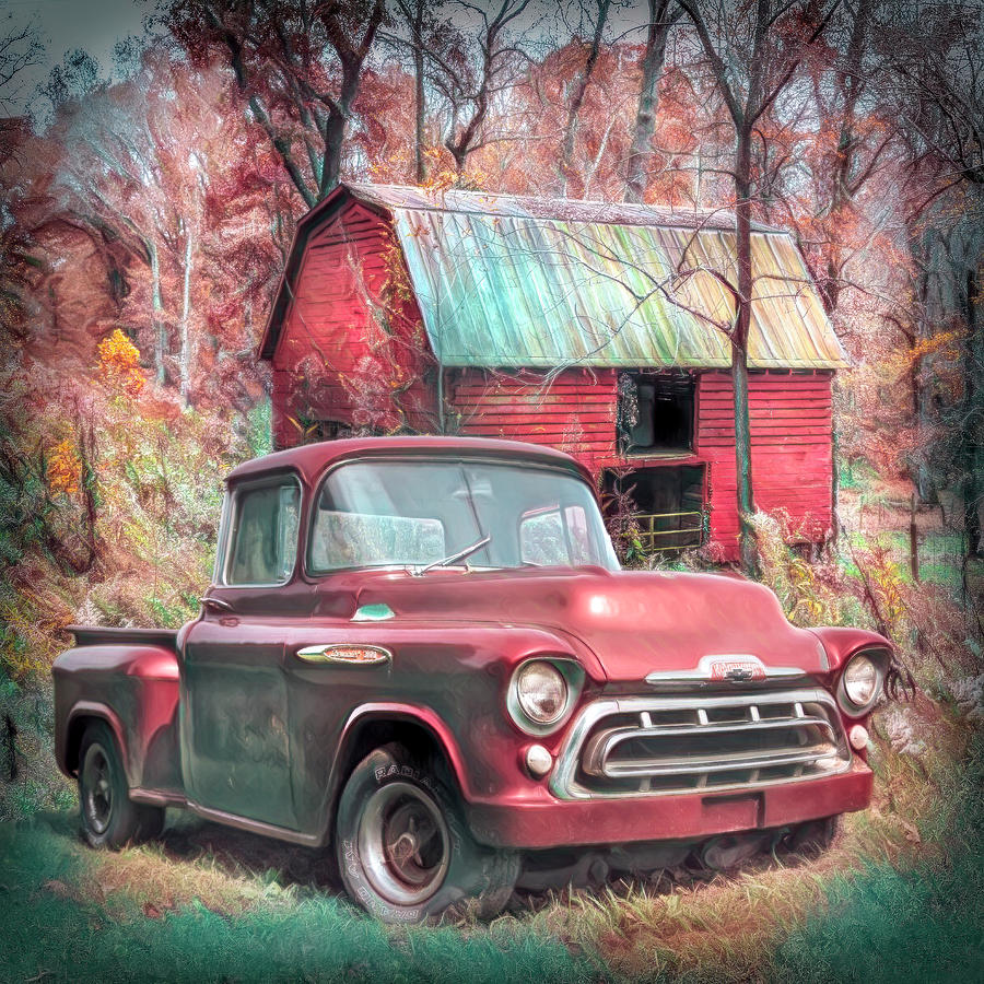 medium resolution of 1957 photograph love that red 1957 chevy truck soft painting by debra and dave vanderlaan
