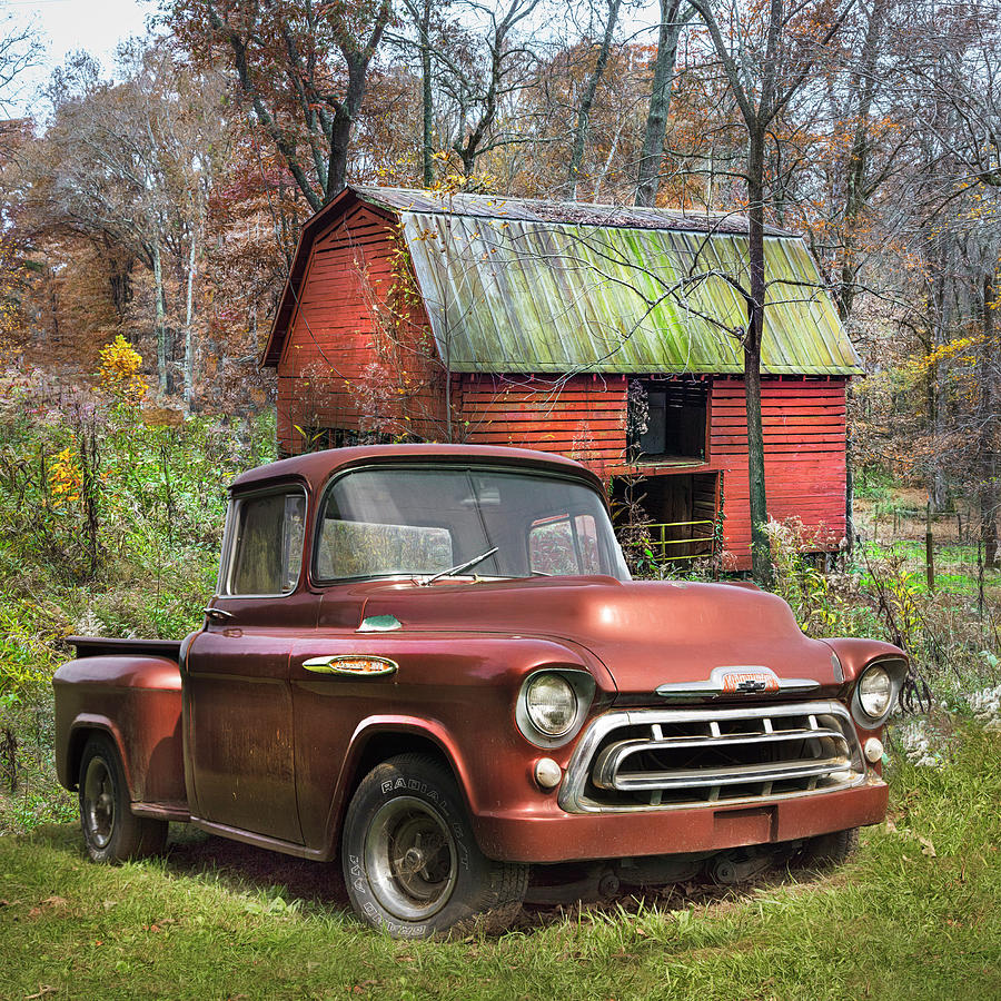 medium resolution of 1957 photograph love that rusty red 1957 chevy truck by debra and dave vanderlaan