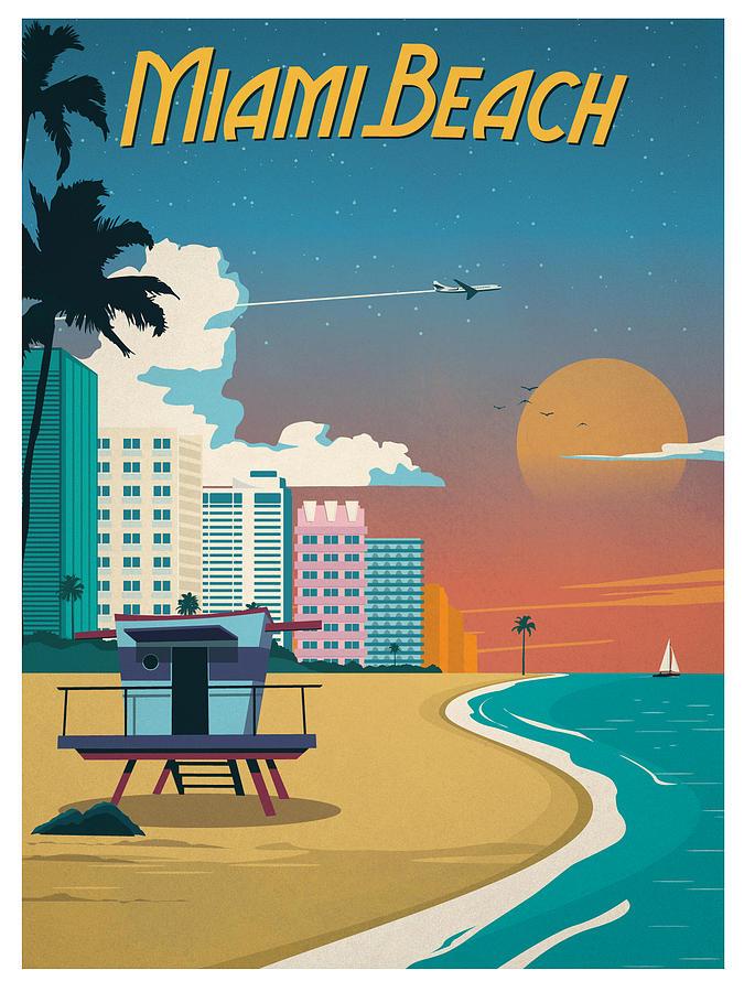 miami beach florida vintage travel poster by siva ganesh