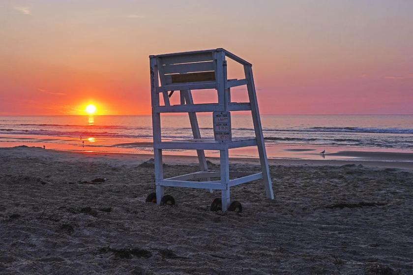 Ogunquit Beach Lifeguard Chair at Sunrise Ogunquit Maine Photograph by Toby McGuire