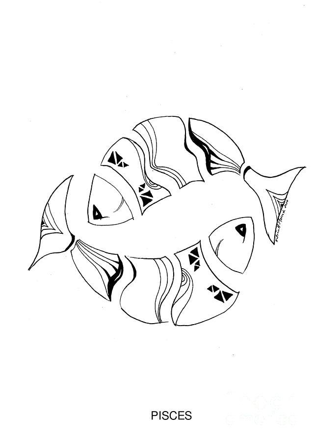 Pisces Sign Drawing : pisces, drawing, Pisces, Drawing, Katrine, Marrash