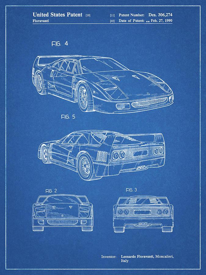 Ferrari Blueprint : ferrari, blueprint, Pp108-blueprint, Ferrari, Patent, Poster, Digital, Borders