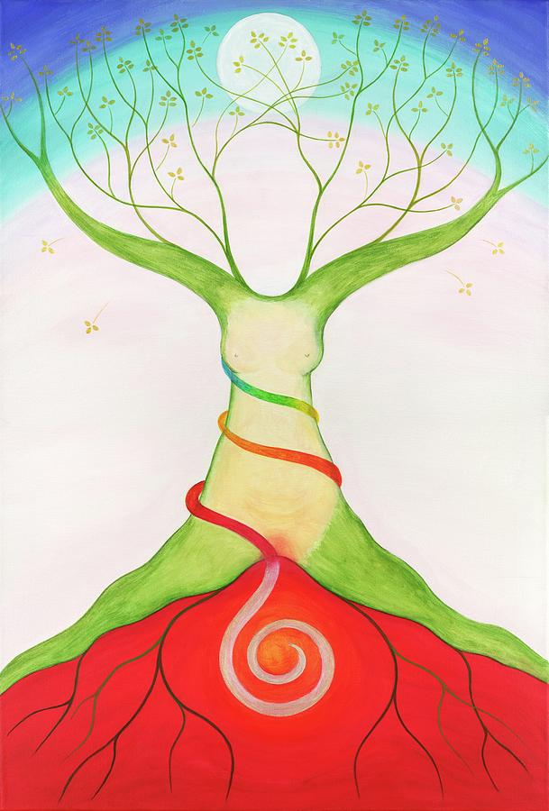 Tree Woman Art : woman, Rainbow, Serpent, Woman, Painting, Christa