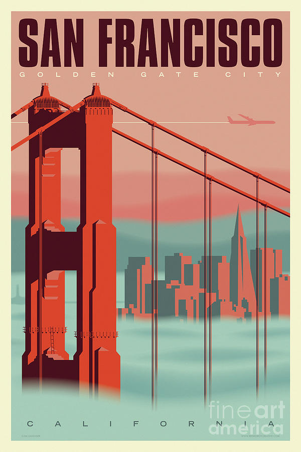 san francisco poster vintage travel by jim zahniser