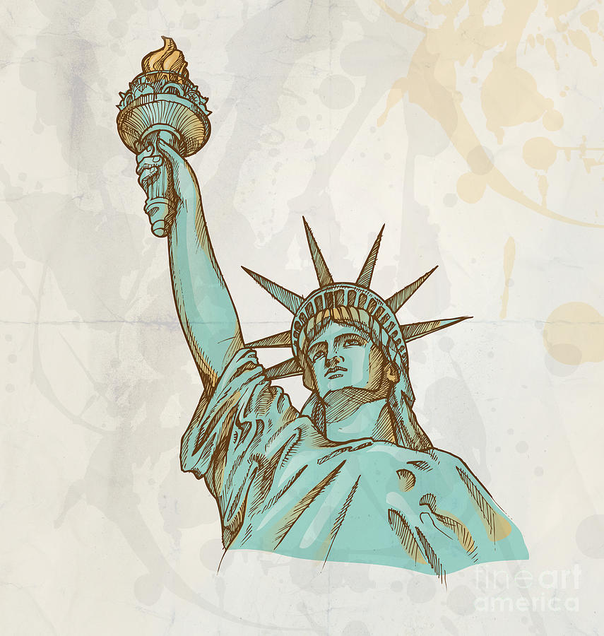Statue Of Liberty Hand Dawn On Background Drawing By Domenico Condello