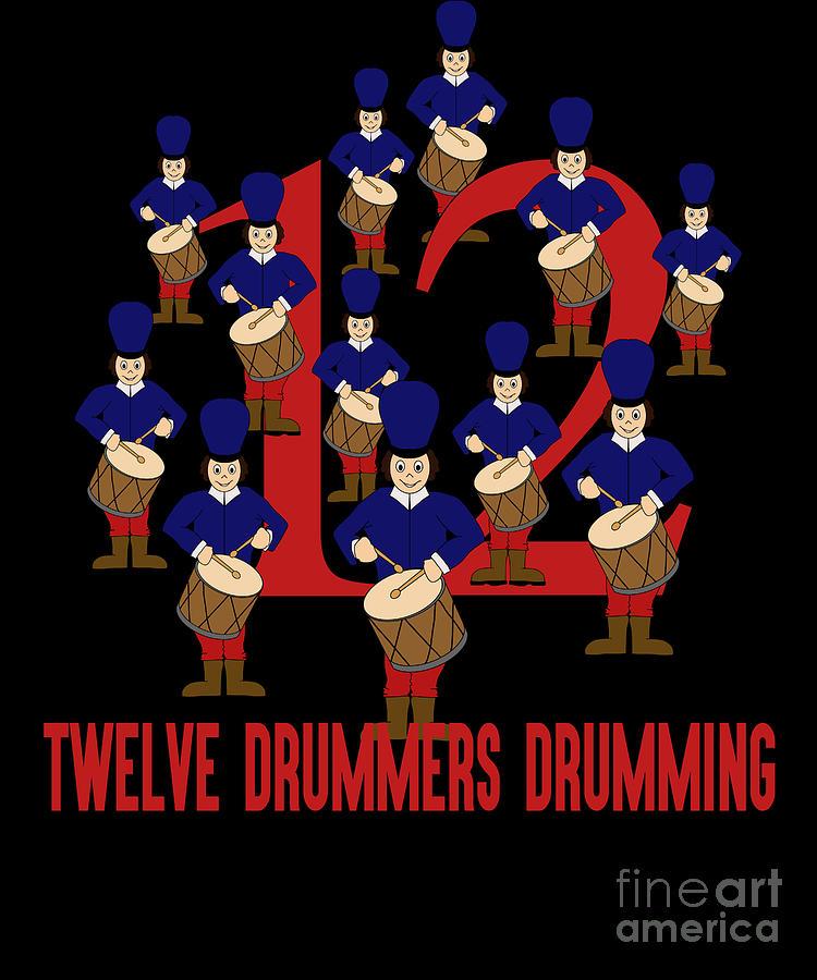 Twelve Drummers Drumming Song 12 Days Christmas Numbers Red Digital Art By Henry B