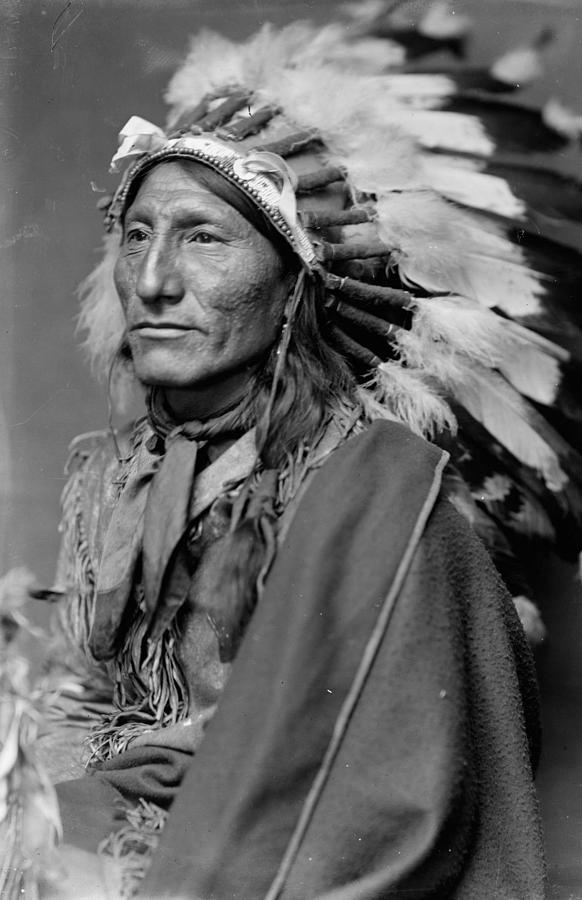 Whirling Horse Sioux Native American Indian Chief Wearing Headdress Painting By Celestial Images