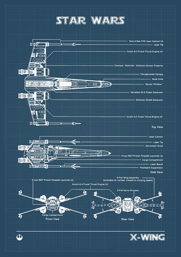 X Wing Fighter Drawing : fighter, drawing, X-WING, FIGHTER, Blueprint, Digital, Dennson, Creative