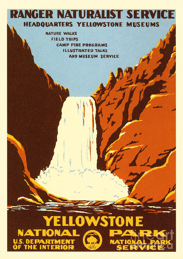 yellowstone national park vintage advertising poster by damian davies
