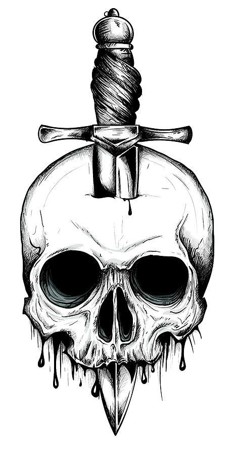 Face Skull Tattoo : skull, tattoo, Knife, Through, Skull., Simple, Skull, Series., Monoline, Tattoo, Design, Vector, Digital, Zangirolami