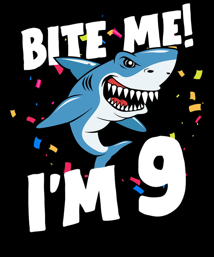 Boys 9 Years Old Happy Birthday Gifts Fun Party Shark Gift Idea Digital Art By Orange Pieces