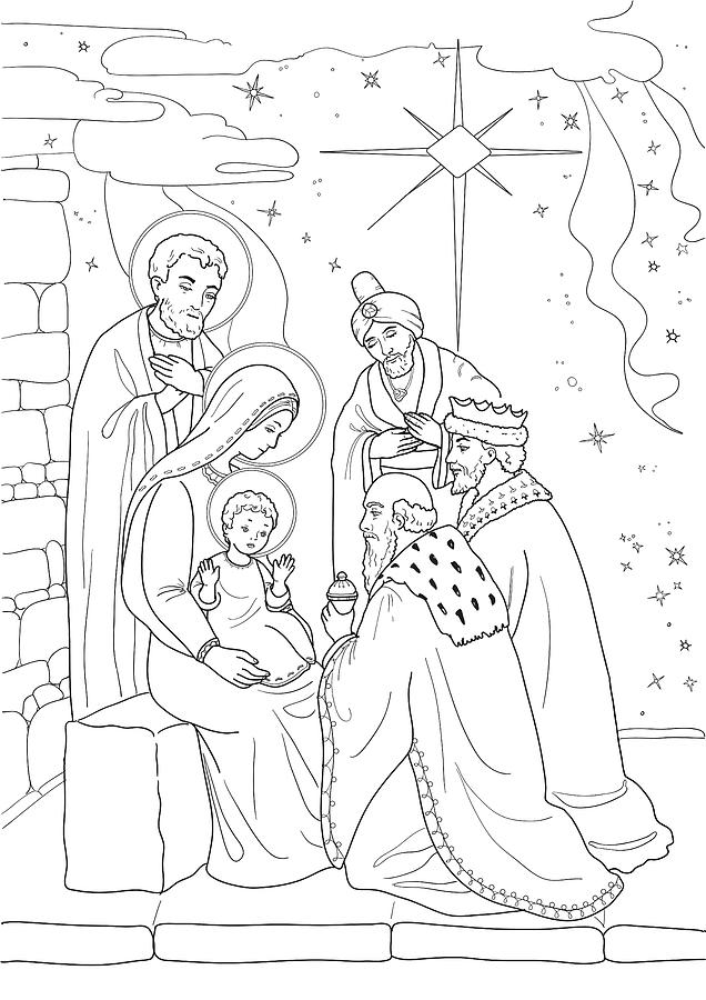 Baby Jesus Coloring Pages : jesus, coloring, pages, Christmas., Coloring, Jesus,, Joseph,, Three, Drawing, Zolotnyk