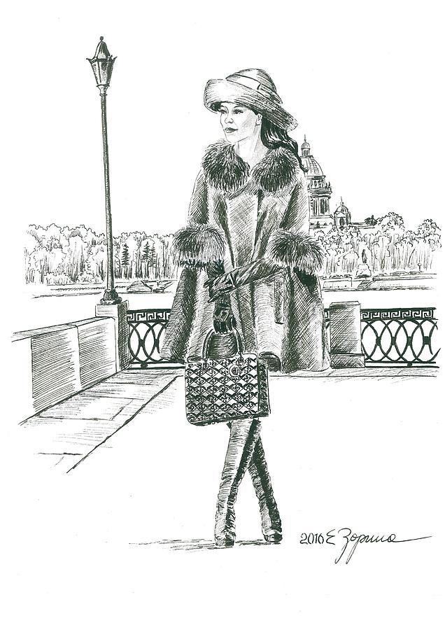 Drawing N 3. Series Original Realistic Drawings black ink