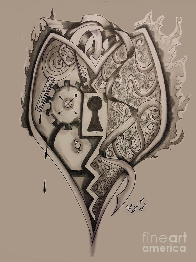Heart Lock Drawing : heart, drawing, Heart, Drawing, Pamela, McGowan