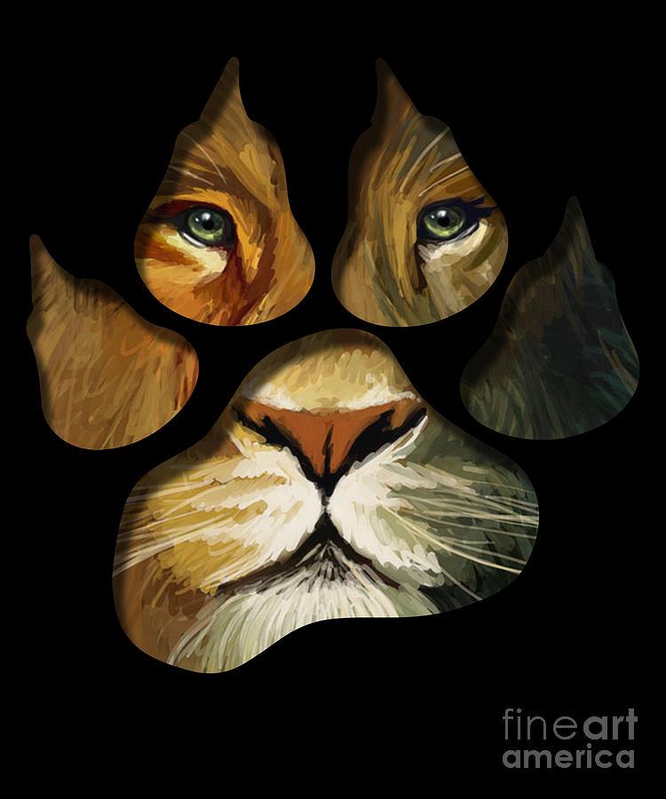 Lion Paw Drawing : drawing, Print, Animal, Drawing, Noirty, Designs