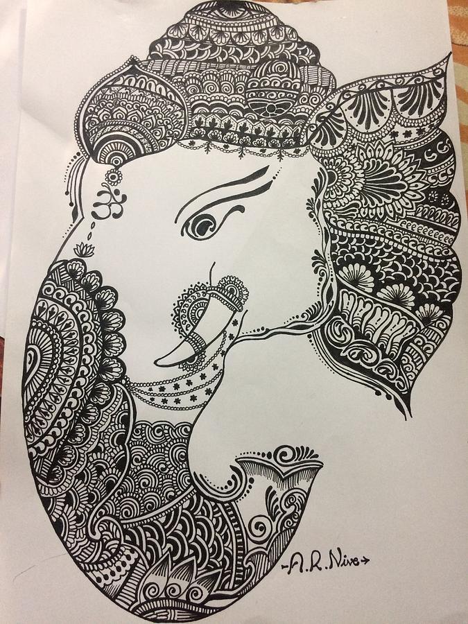 Lord Ganesha Drawing By A R Nivethithaa