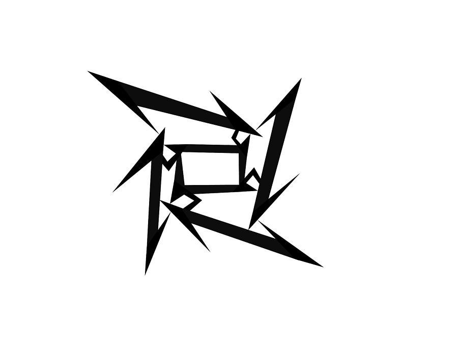 Metallica Logo Shuriken Ninja Heavy Metal Band Logotype