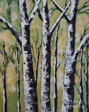 Spring white Birch Trees Painting by Beverly Livingstone