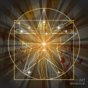 The Vitruvian Man In Pentagram Digital Art by MysticaLink