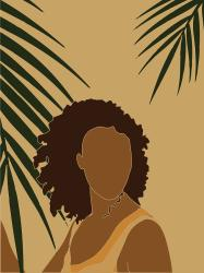 Tropical Reverie Modern Minimal Illustration 08 Girl Palm Leaves Tropical Aesthetic Brown Mixed Media by Studio Grafiikka