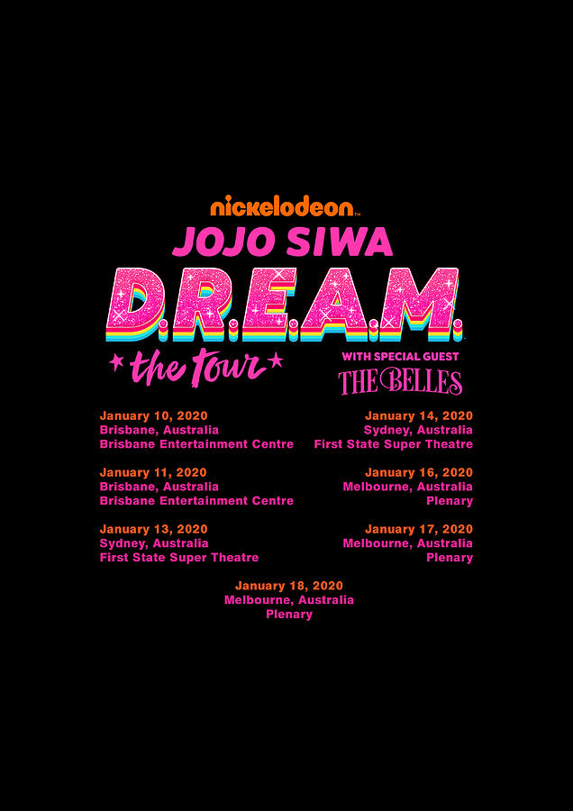 Jojo Siwa Australia Tour 2020 Melbourne : australia, melbourne, Tshirt, DREAM, AUSTRALIA, DATES, Fntwas, Digital, Wahyu, Setiawan