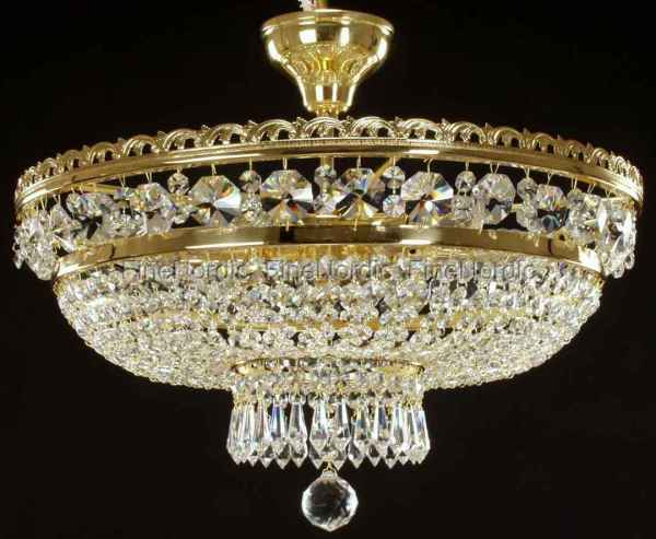 Crystal Chandelier - Ceiling-mount With 6 Lights Gold