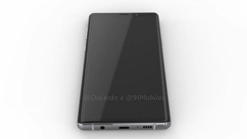 Leaked CAD renders of the Samsung Galaxy Note 9. Image: 91Mobiles. @Onleaks