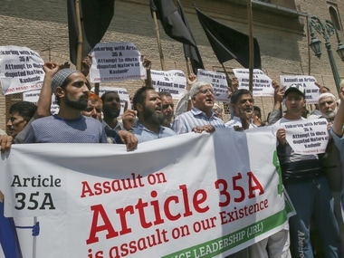 Protests in support of Article 35-A in Jammu and Kashmir. AP