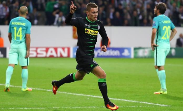 Thorgan Hazard celebrates scoring a goal for Borussia Moenchengladbach. Reuters