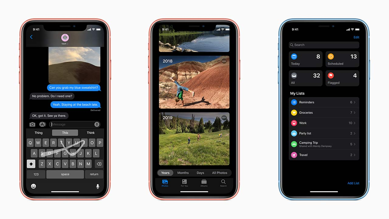 iOS 13 introduces some much-needed quality of life improvements, and a tonne of bugs. Image: Apple