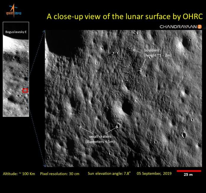 Closeup images of the moon's surface captured by the Chandrayaan 2 Orbiter's High-Res Camera (OHRC).