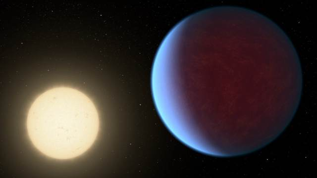 The super-Earth exoplanet 55 Cancri e, depicted with its star in this artist's concept, likely has an atmosphere thicker than Earth's but with ingredients that could be similar to those of Earth's atmosphere. Image credit: NASA/JPL-Caltech