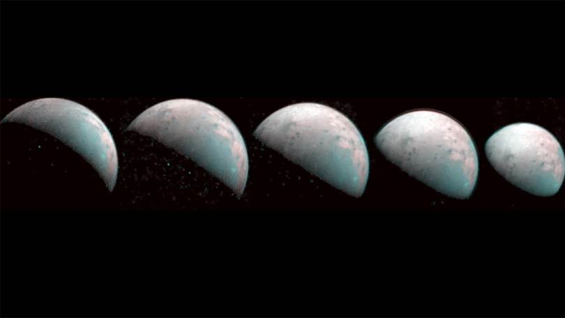 These images the JIRAM instrument aboard NASA's Juno spacecraft took on Dec. 26, 2019, provide the first infrared mapping of Ganymede's northern frontier. Frozen water molecules detected at both poles have no appreciable order to their arrangement and a different infrared signature than ice at the equator. Image credit: NASA/JPL-Caltech/SwRI/ASI/INAF/JIRAM