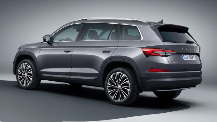 Gloss-black spoiler and redesigned tail-lights are the major changes at the back of the 2021 Skoda Kodiaq facelift. Image: Skoda
