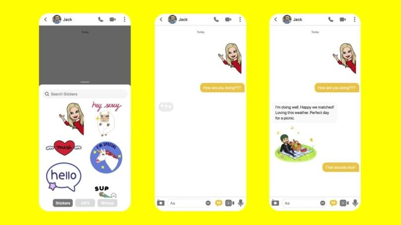 Bumble users will be able to use Bitmoji, and send AR Lens videos, within the app.